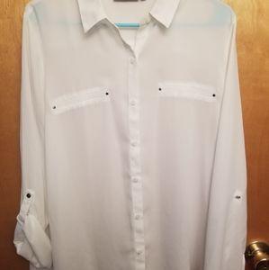 White sheer button up shirt